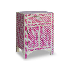 Bone Inlay Diamond Bedside Table with Cabinet - Pink