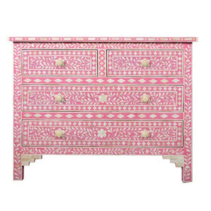 Bone Inlay Chest 4-Drawer Floral - Pink