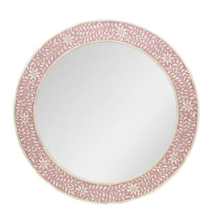 Bone Inlay Round Mirror Floral - Pink