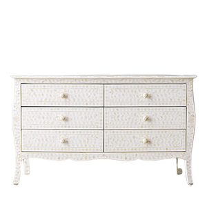 Bone Inlay Provincial 6-Drawer Floral Chest - White