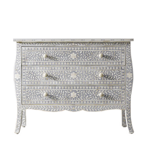 Bone Inlay Provincial 3-Drawer Floral Chest - Grey