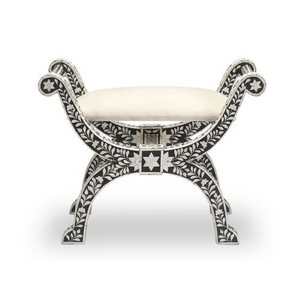 Bone Inlay Floral Stool - Black