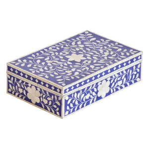 Bone Inlay Floral Box - Indigo