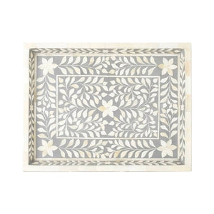 Bone Inlay Floral Rectangular Tray - Grey