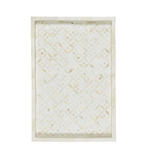 Bone Inlay Geometric Rectangular Tray - White