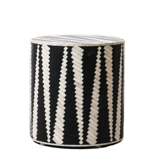 Bone Inlay Zebra Side Table in Black