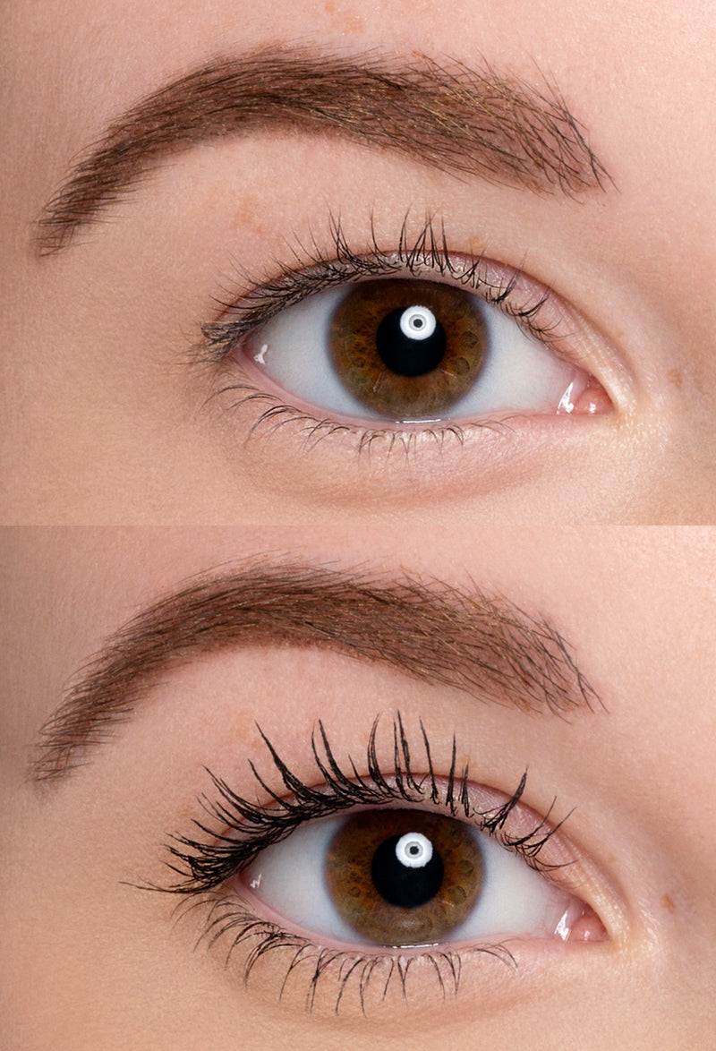 Before and after results of applying mascara