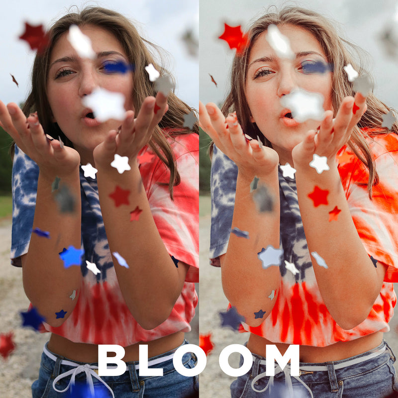 "Two photos showing the before and after effects of using the preset ""Bloom"""
