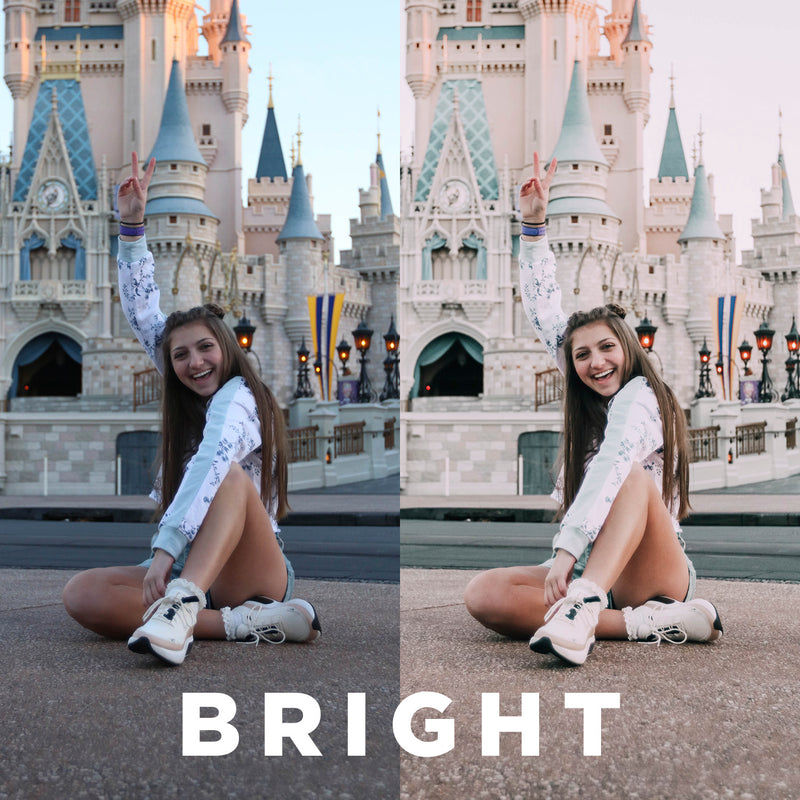 "Two photos showing the before and after effects of using the preset ""Bright"""