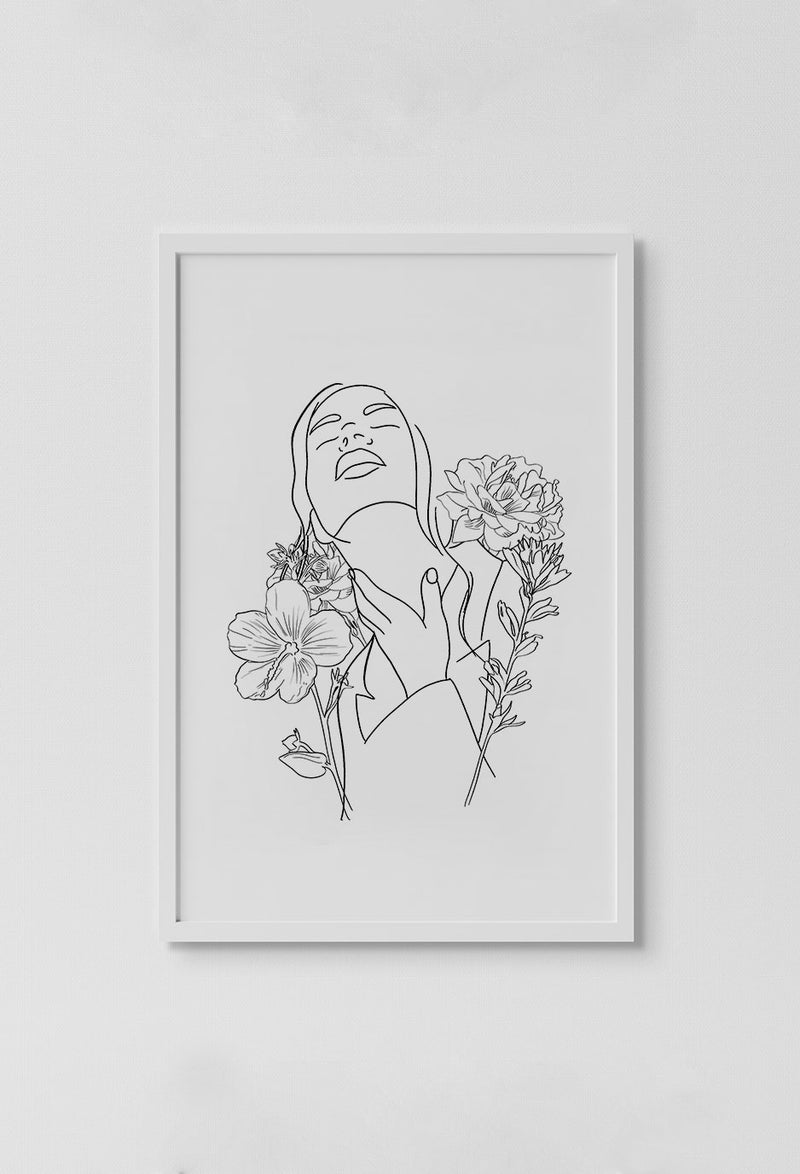 image of stencil drawing of girl surrounded by flowers looking up with eyes closed and hand on neck on while background in white frame on white wall.