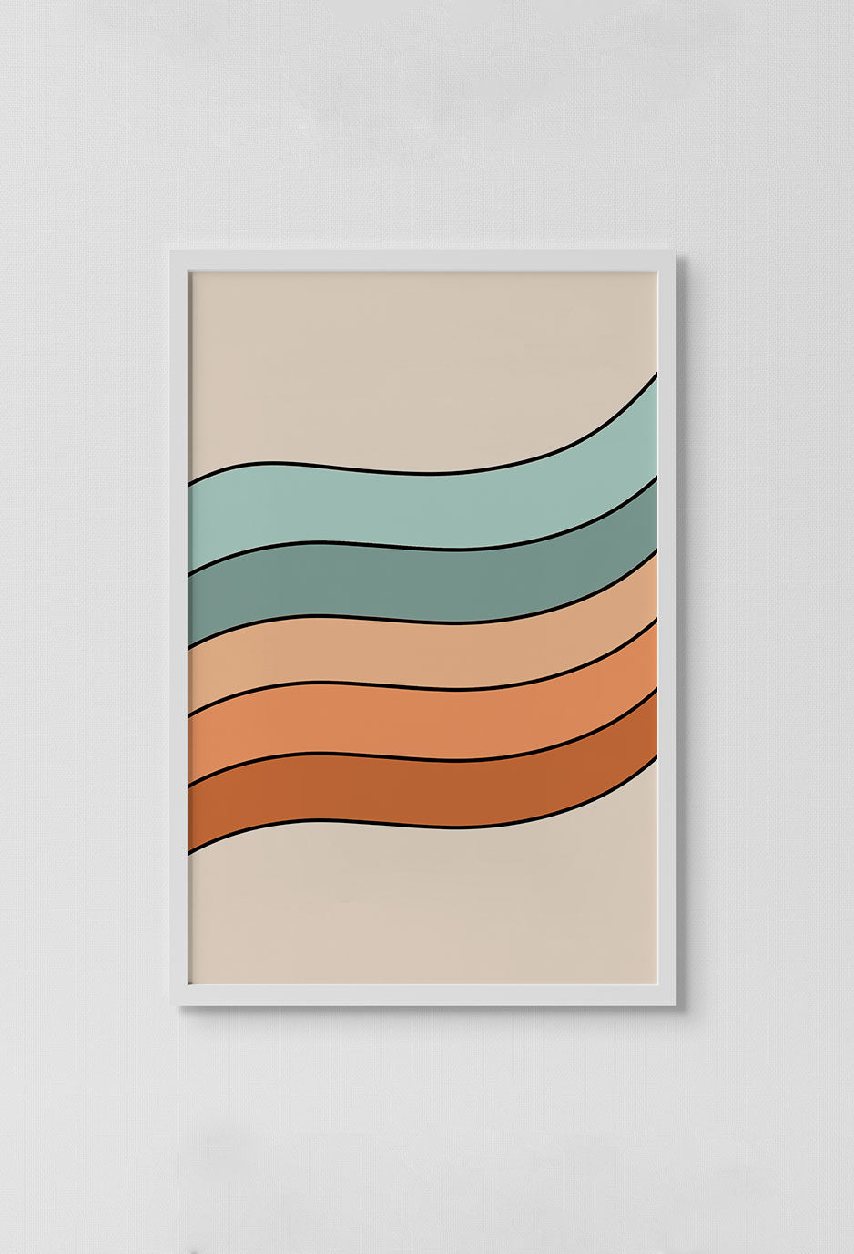 image of pink, orange, peach, turquoise and aqua colored wave stripe with beige background in white frame on white wall.