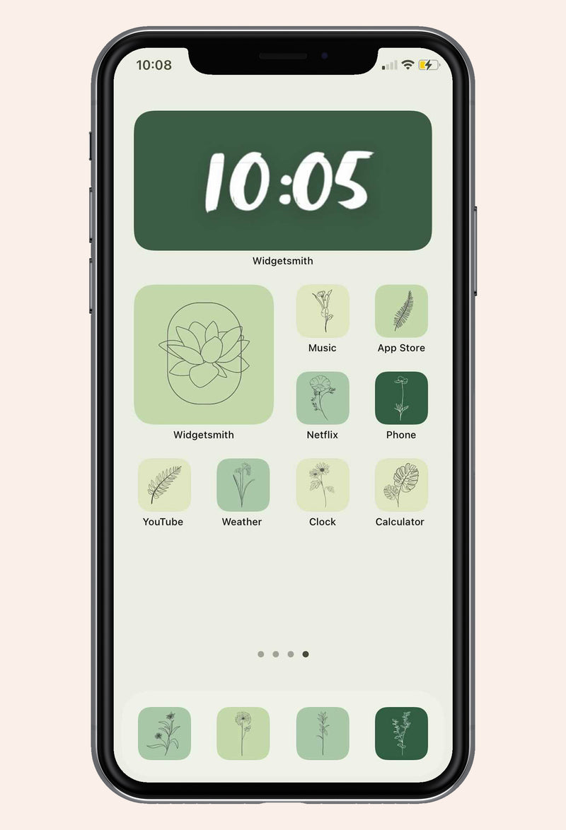 Home screen image of Give Me Green iOS iPhone Icon Pack with app examples