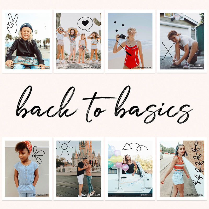 Eight photos showing the different designs of the Back to Basics doodle pack