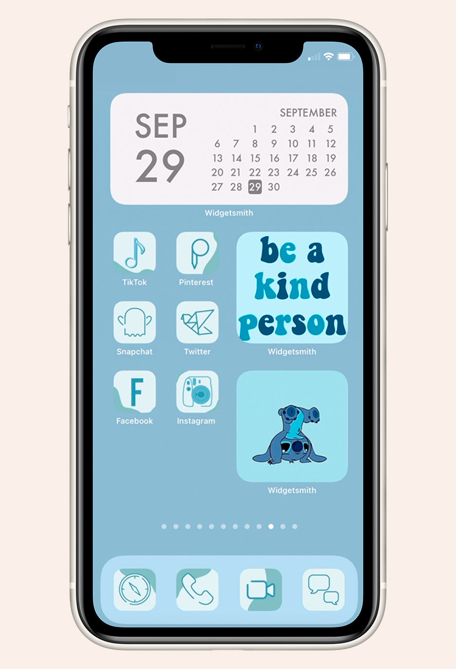 Home screen image of Blue for You iOS iPhone Icon Pack mock up with app examples