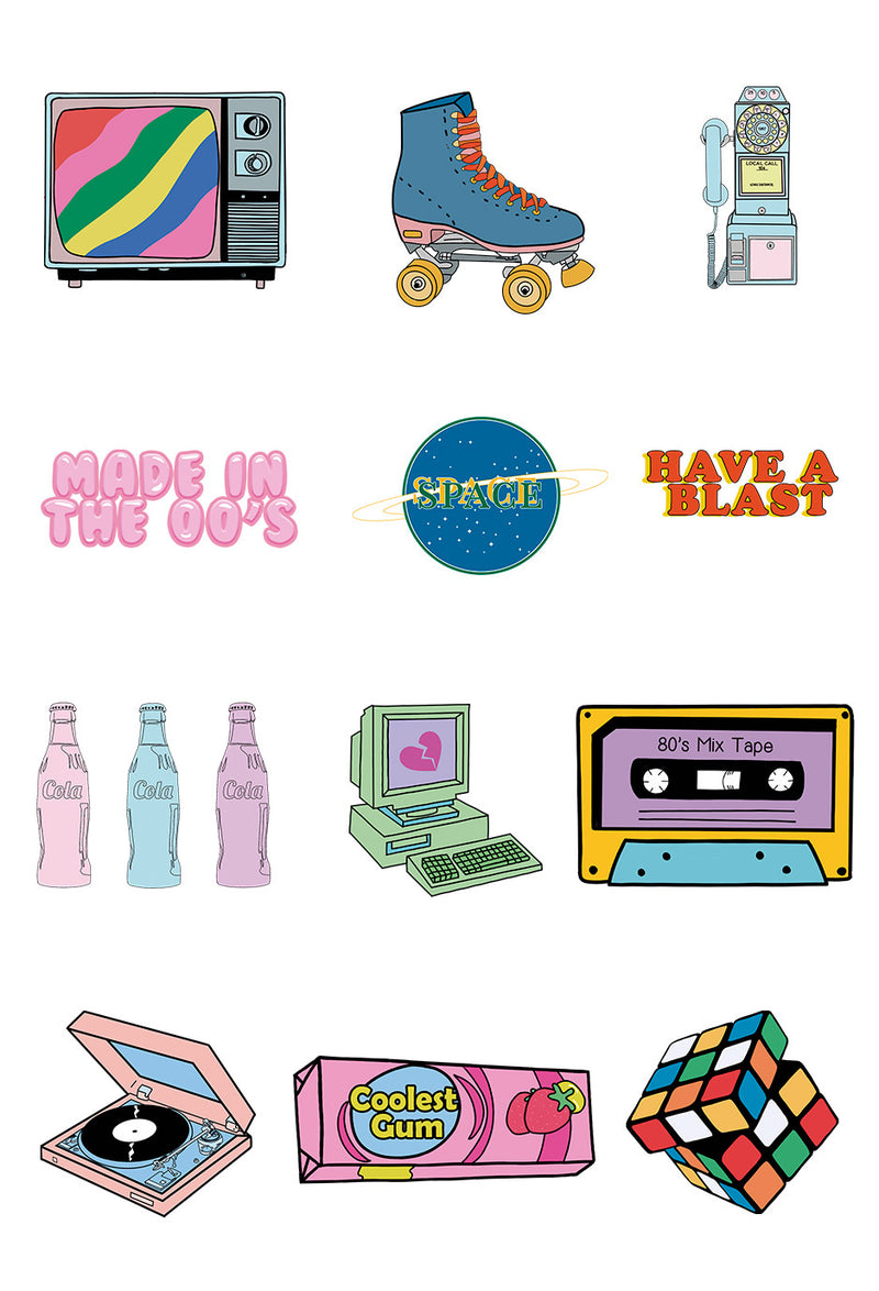 mock up of sticker set showing all 12 stickers in retro sticker pack on white background