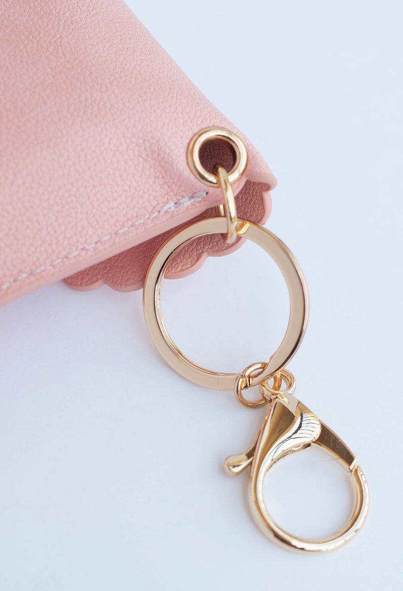 close up image of key ring and clamp on hand sanitizer case