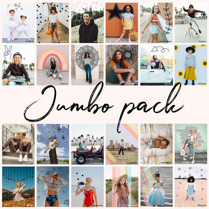 Twenty Four photos showing the different doodles in in the Jumbo Pack