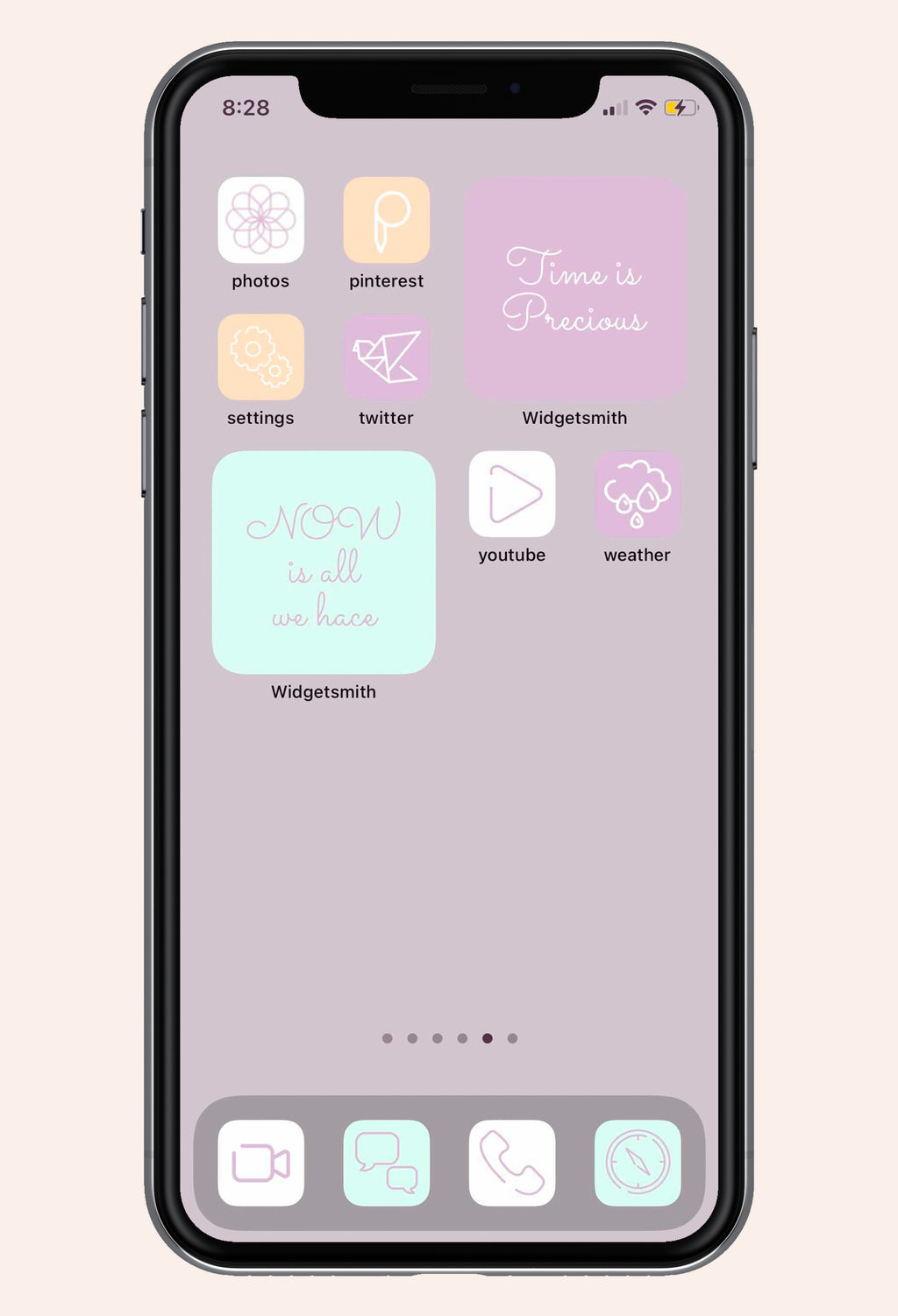App screen image of Lovely in Lilac iOS iPhone Icon Pack