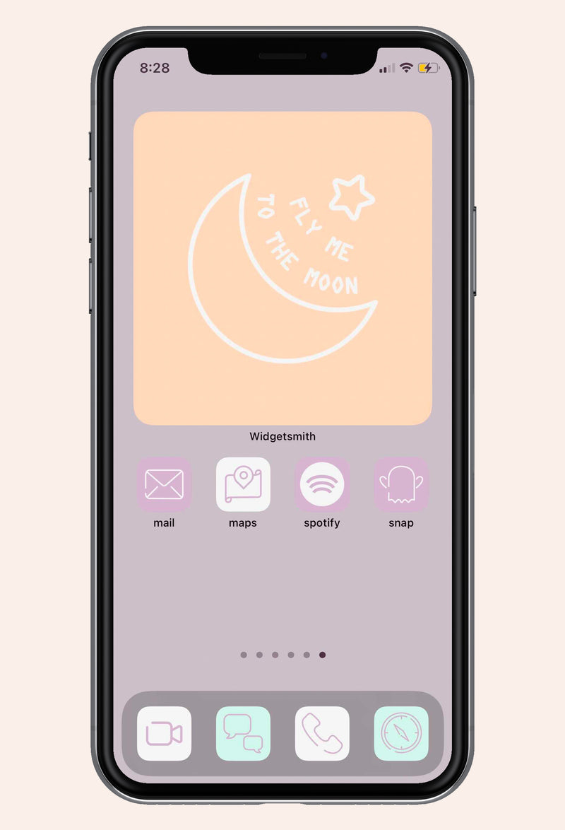 Second screen screen image of Lovely in Lilac iOS iPhone Icon Pack with apps