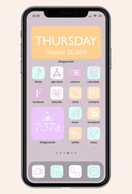 Home screen image of Lovely in Lilac iOS iPhone Icon Pack with apps