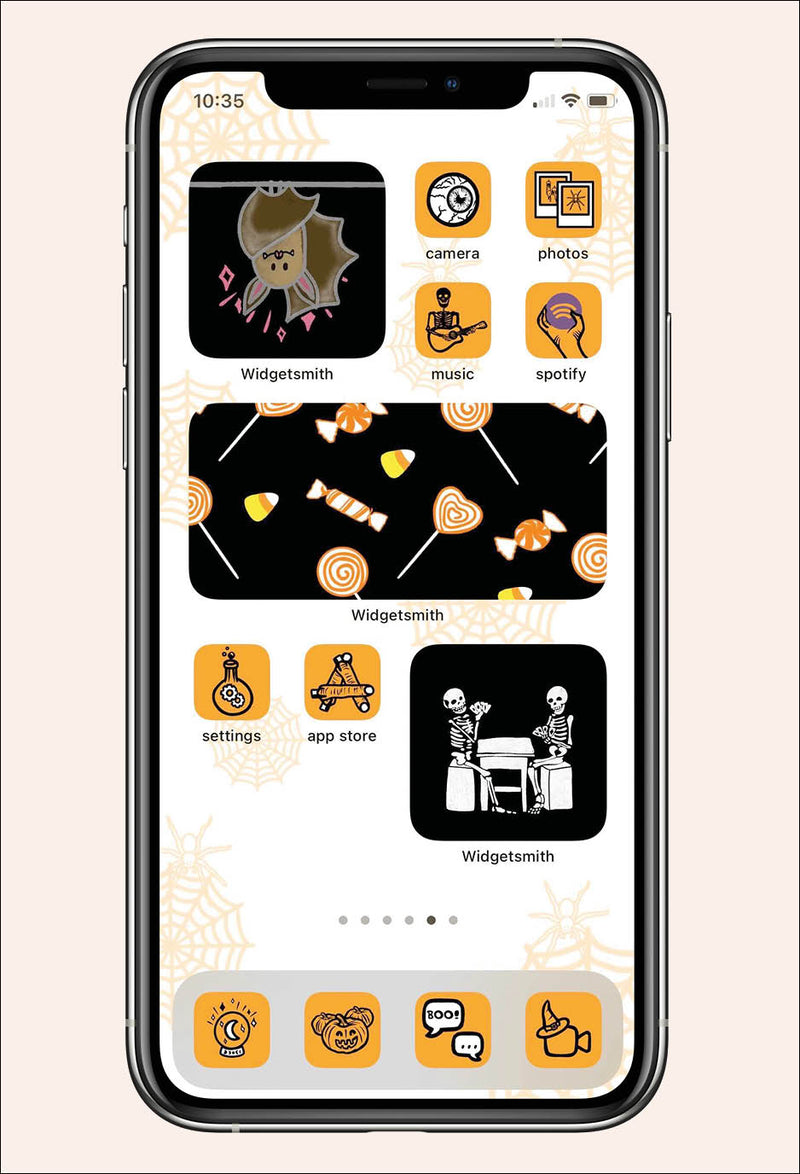 iPhone mock up with Halloween theme icons and widgets