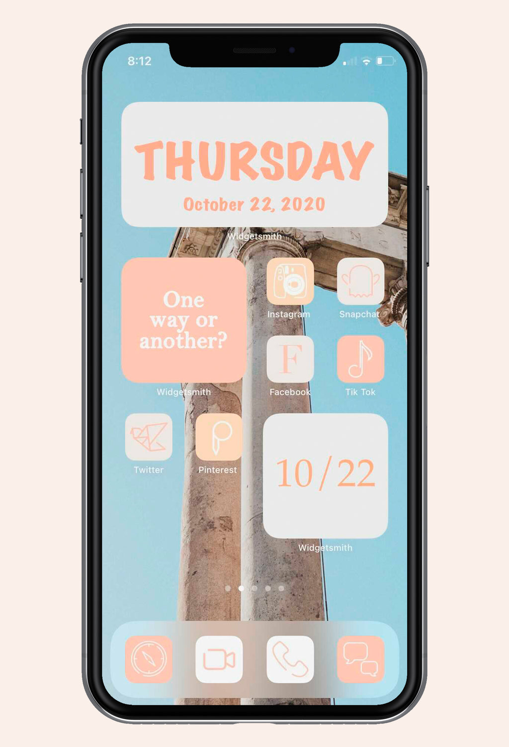 Home screen image of So Peachy iOS iPhone Icon Pack