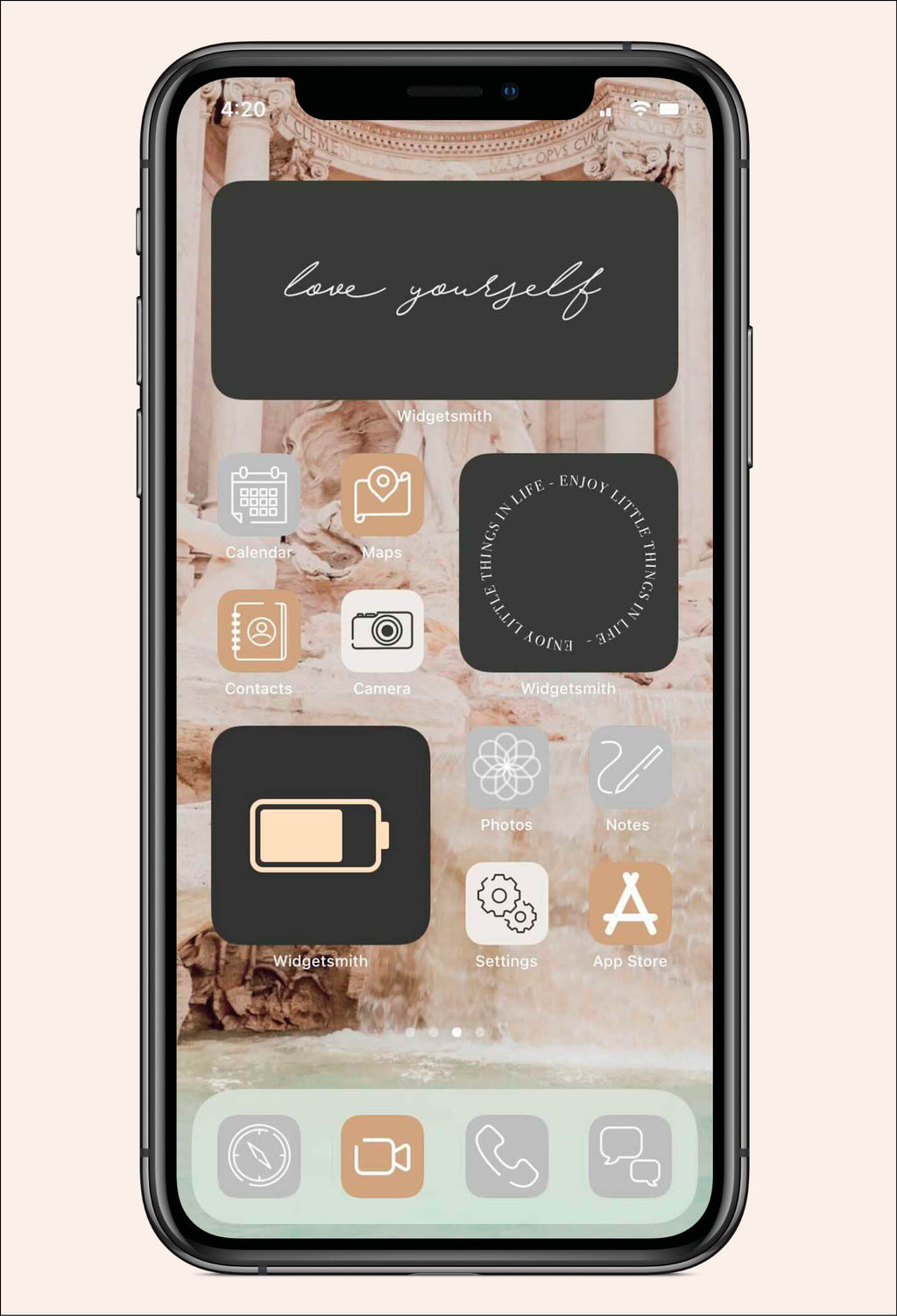 Screen image of Simply Aesthetic iOS iPhone Icon Pack with app layout examples