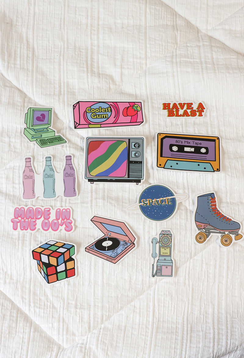 lay down image of 12 different stickers showing retro sticker sets