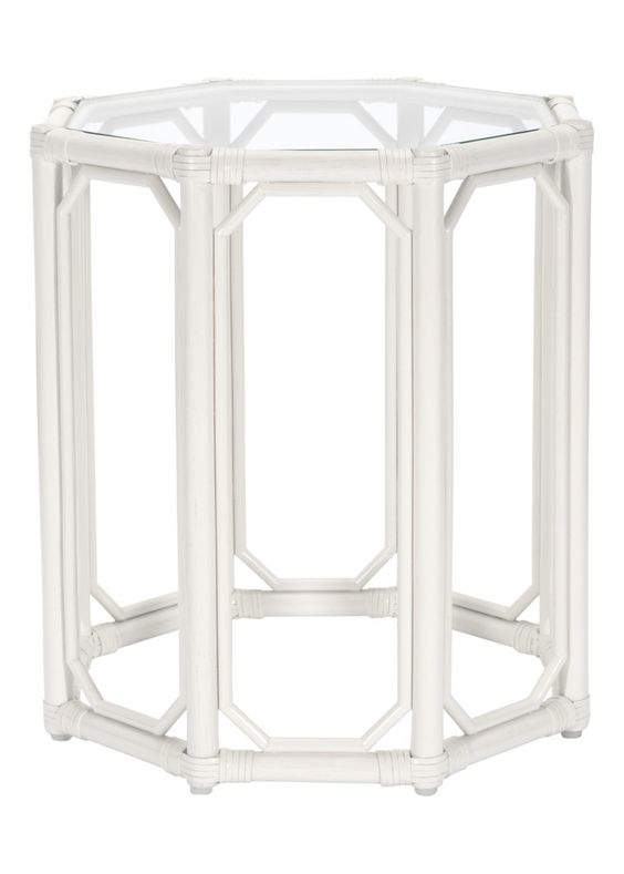 Regeant Octagon End Table w/Glass - White (SPOT TABLE)