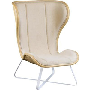 Bend Lounge Chair - Natural w/ grey fabric