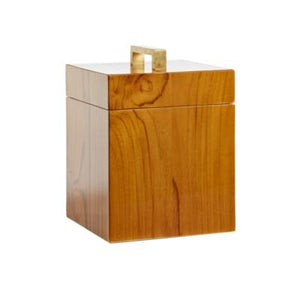Captain's Square Box - Varnished Teak/Brass Handle