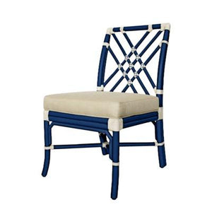 Florence Broadhurst Pagoda Side Chair - Blueberry w/ white accents