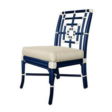 Florence Broadhurst Squares Side Chair - Blueberry w/ White Accents