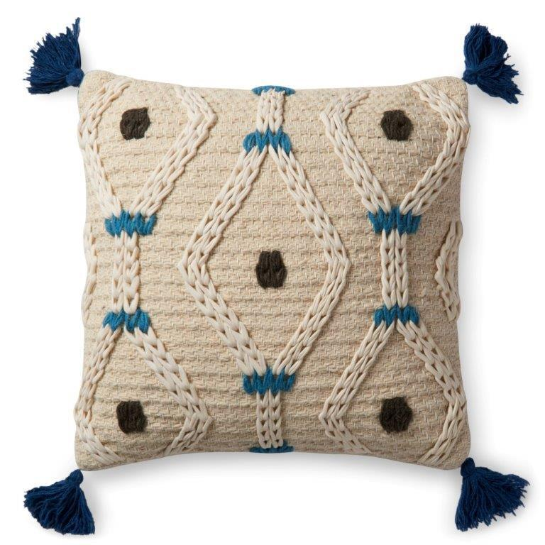 Justina Blakeney Cushion - IVORY / BLUE - P0486