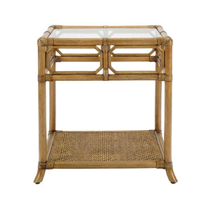 Regeant Side Table w/Glass - Nutmeg
