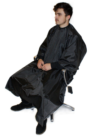 HairTools - BARBER PINSTRIPE GOWN BLACK