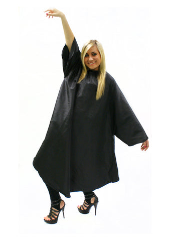 Sleeved Gown Black With Poppers