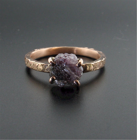 Purple raw diamond ring