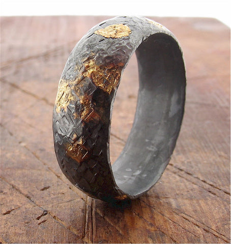 Rustic Black and Gold wedding ring.