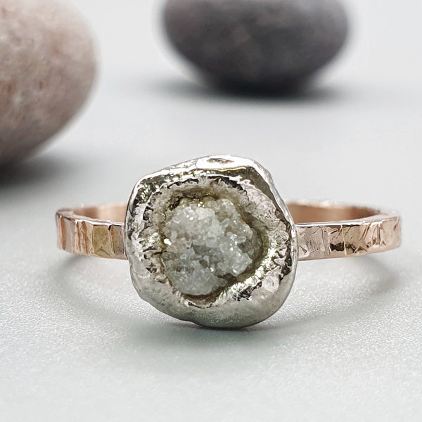 Diamond solitaire rustic rose gold ring. - Cumbrian Designs