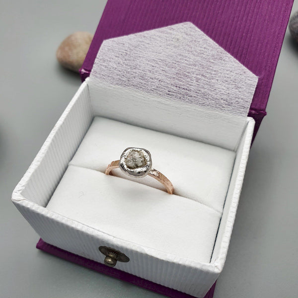 Diamond solitaire rustic rose gold ring. Diamond & Gem Rings CumbrianDesigns