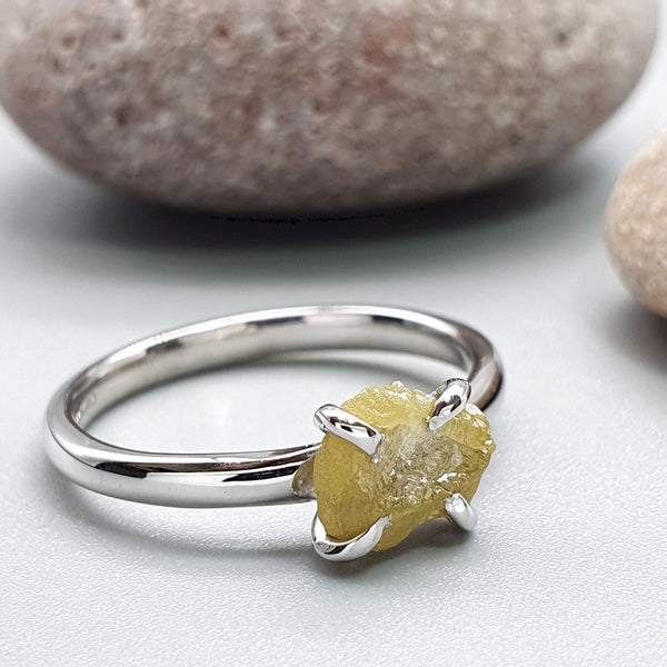 Yellow diamond solitaire ring - Cumbrian Designs