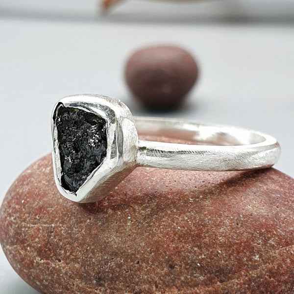 Black uncut diamond solitaire ring - Cumbrian Designs