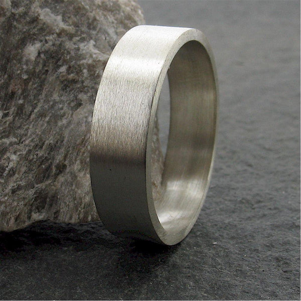 White gold flat broad wedding ring. - Cumbrian Designs