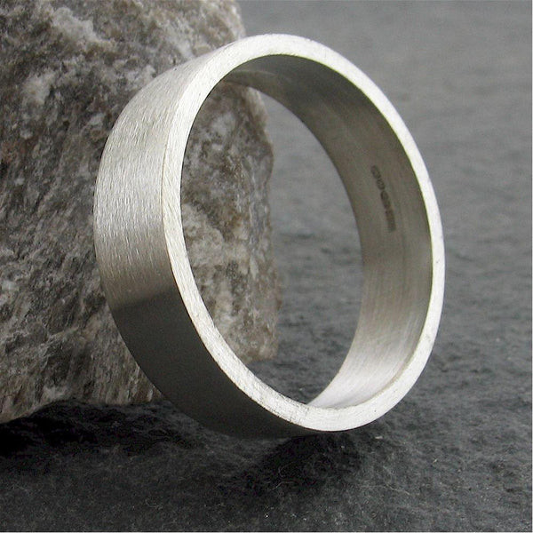 Platinum flat broad wedding ring. - Cumbrian Designs