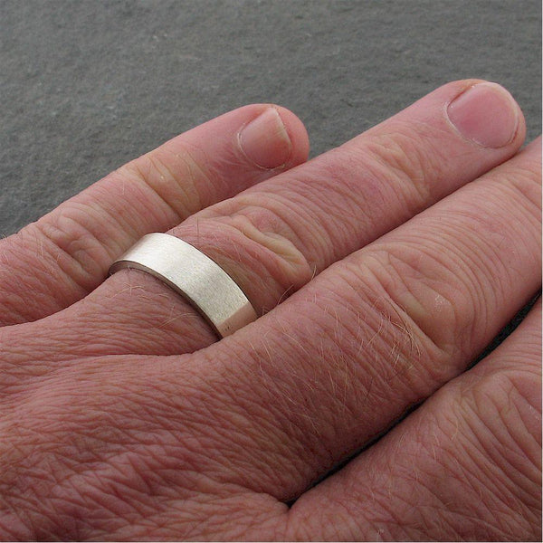 White gold flat broad wedding ring. Classic Wedding Rings Richard Harris Jewellery