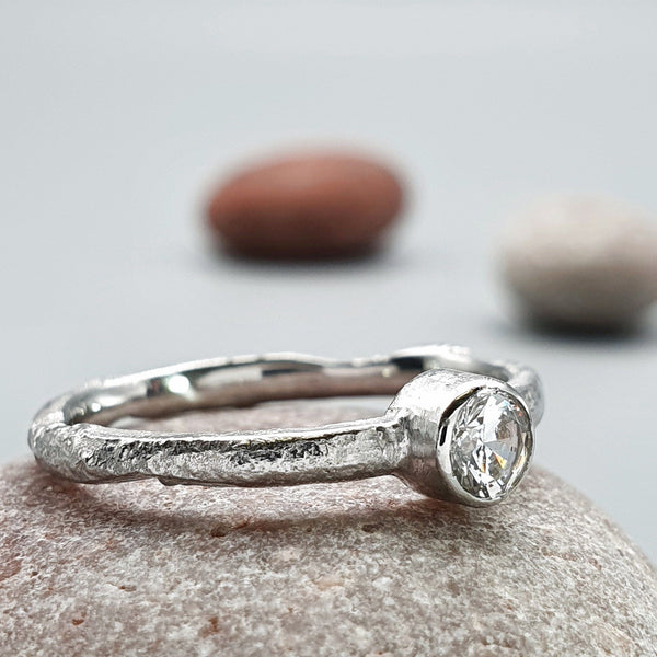 Solitaire diamond white gold ring. Medium Beach Sand design - Cumbrian Designs