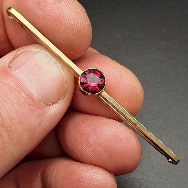 Antique red garnet gold bar brooch - Cumbrian Designs