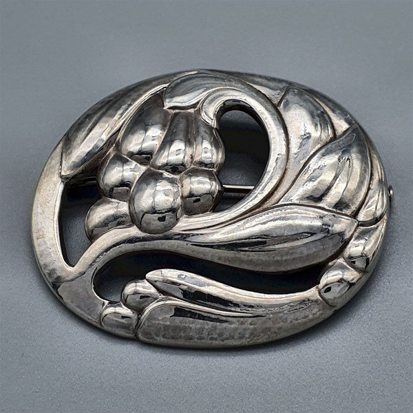 Georg Jensen early Danish Silver Leaf & Fruit Brooch No. 65 - Cumbrian Designs