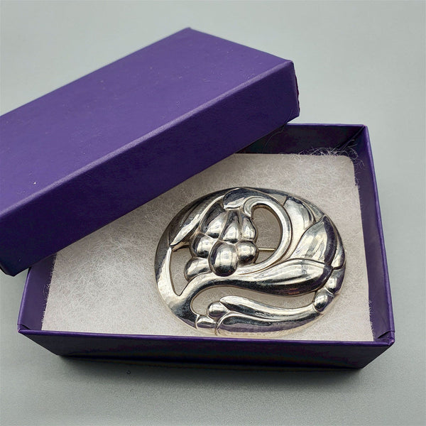 Georg Jensen early Danish Silver Leaf & Fruit Brooch No. 65 antique jewellery jewelleryantiques